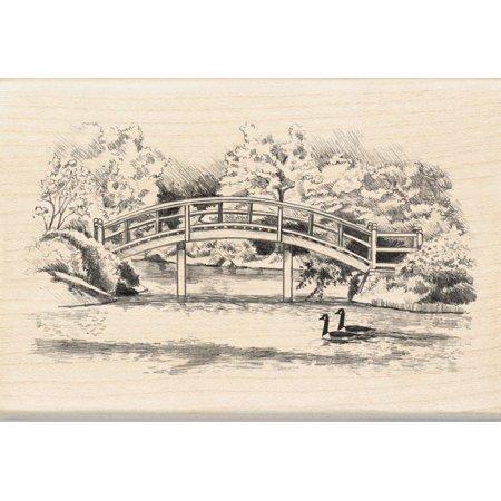 Walking Bridge Wood Stamp, 1-Piece, wood stamp size: 2-1/4-inch by 2-1/2-inch By Inkadinkado - Inkadinkado Halloween Stamps