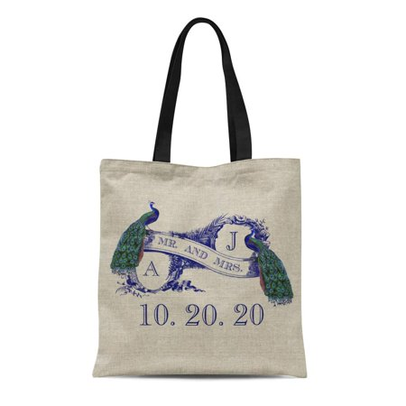 SIDONKU Canvas Tote Bag Bride Peacock Rustic Wedding Sweetheart Groom Save the Date Reusable Handbag Shoulder Grocery Shopping Bags