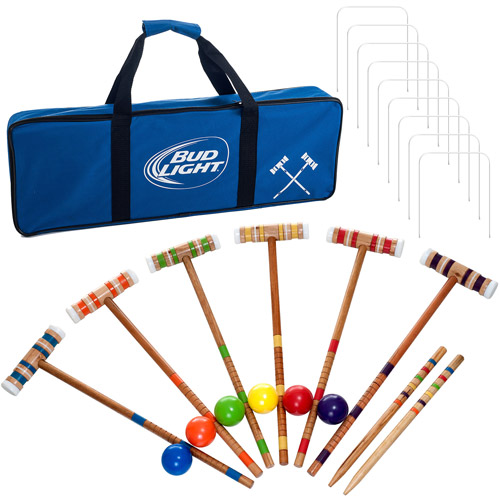 Budweiser Bud Light 24-Piece 6-Player Croquet Set, Complete Game
