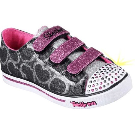 Girls' Skechers Twinkle Toes Shuffles Glitter Heart Sneaker