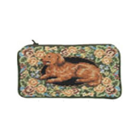 123 Creations C498CC-4.5x7 in. B-Floral Golden Retriever Petit-point Cosmetic Purse