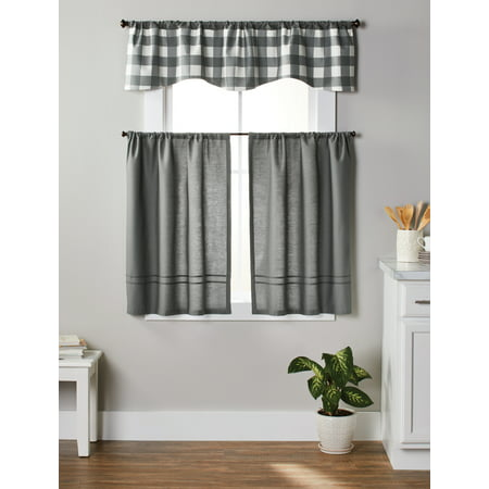 Better Homes & Gardens Checks N Solids 3-Piece Kitchen Window Curtains (Baby Blue Kitchen Curtains)