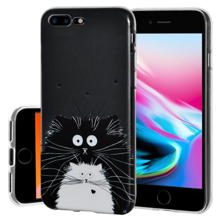 iPhone 8 Plus Case, Soft Gel Skin TPU Cover Fashion Style Slim Designer Clear Back Cover - Cat for iPhone 8 Plus , Semi transparent, Flexible, Added Grip