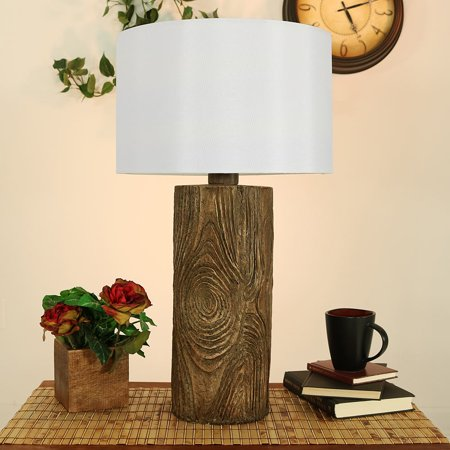 Sunnydaze Indoor Outdoor Weather Resistant Table Lamp Nature Inspired Log Polyresin