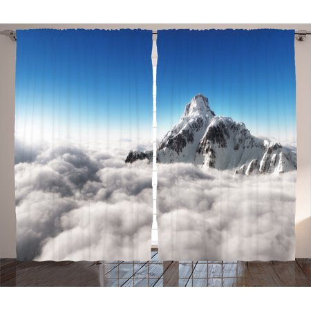 Apartment Decor Curtains 2 Panels Set  Highest Mountain Above Clouds With Bright Sunny Sky Background Earth Is Magic Photo  Living Room Bedroom Accessories  By Ambesonne