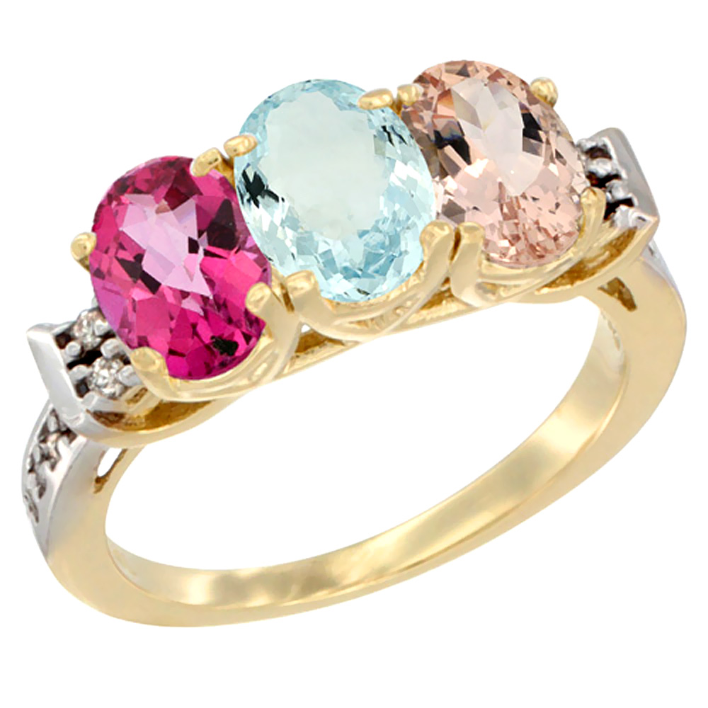14K Yellow Gold Natural Pink Topaz, Aquamarine & Morganite Ring 3-Stone 7x5 mm Oval Diamond Accent, sizes 5 10 by WorldJewels