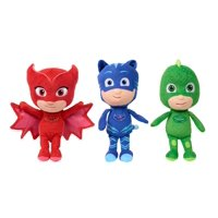 PJ Masks Mini Plush Asst - 3 Pack Bundle- includes Catboy, Owlette & Gekko