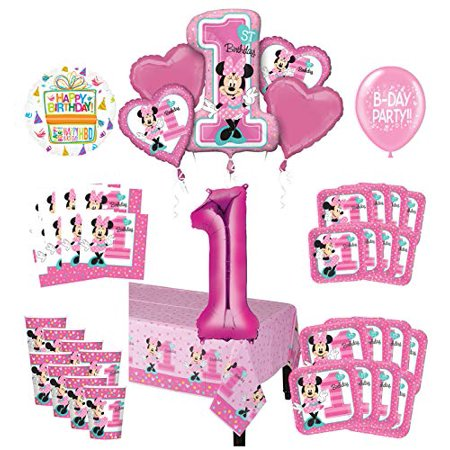 Amazing Mayflower Products Minnie Mouse 1St Birthday Party Supplies 8 Guest Decoration Kit And Balloon Bouquet Best Image Libraries Sapebelowcountryjoecom