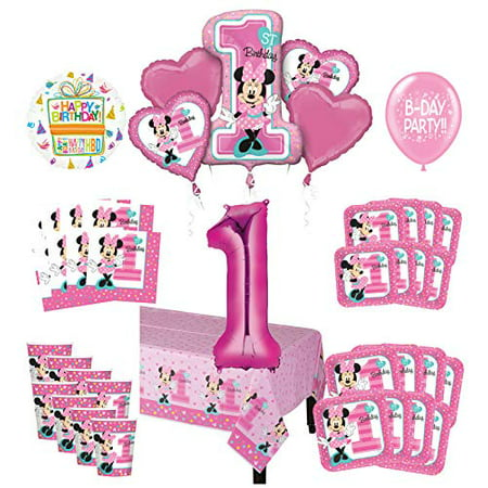 Mayflower Products Minnie Mouse 1st Birthday Party Supplies 8 Guest Decoration Kit and Balloon Bouquet (Mini Mouse Birthday)
