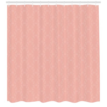 Peach Shower Curtain, Soft Colored Background with Crowns and Floral Abstract Motifs with Faded Look Monochrome, Fabric Bathroom Set with Hooks, Coral, by Ambesonne Orange Floral Background