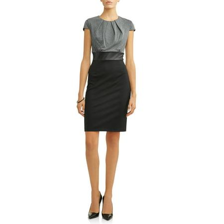 Zip Detail Sheath Dress - Women's Colorblock Ponte Sheath Dress