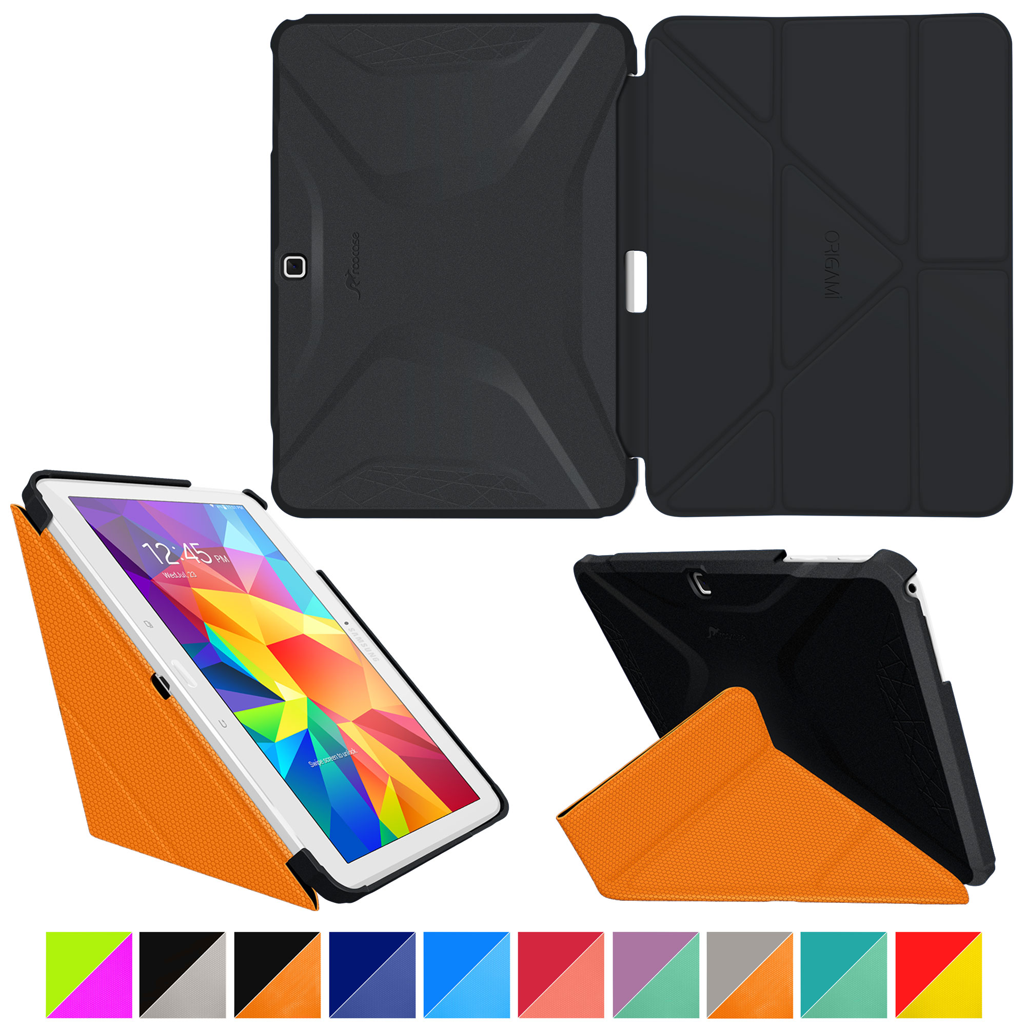 Galaxy Tab 4 10.1 Case, Samsung Galaxy Tab 4 10.1 Case, Origami Slim Fit Shell Lightweight Folio Leather PU Smart Cover Wake Sleep Stand Black/Orange