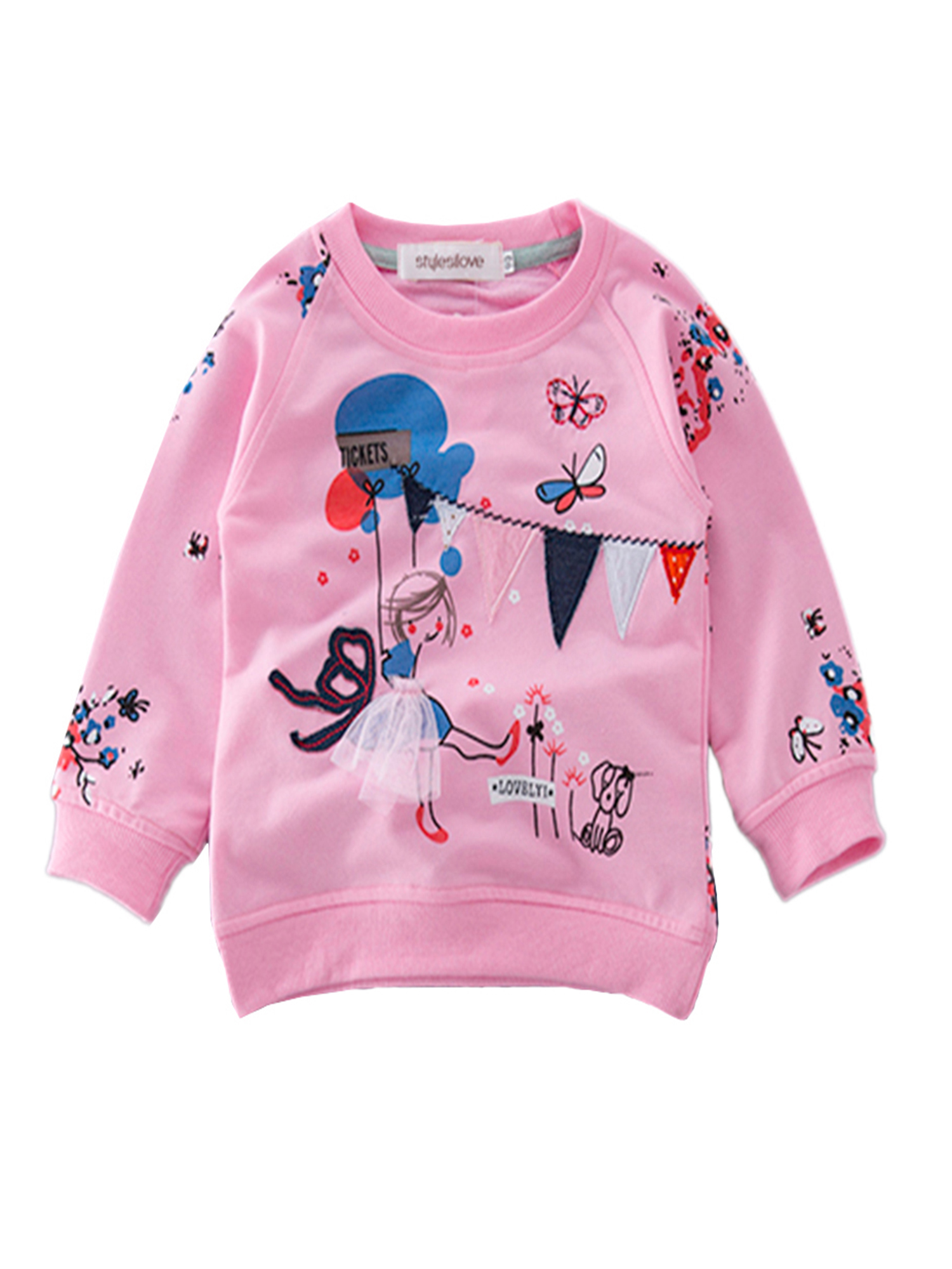 stylesilove Pattern Sweatshirt and Jeans Little Girls Outfit (Pink Sweatshirt, 90/18-24 Months)