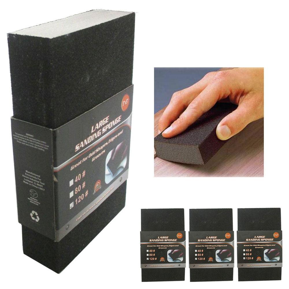 3 Pc Sanding Sponge Polishing Block Pad Set Sandpaper Foam Dual Angle Large Grit by JMK IIT