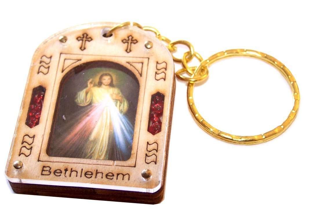 Holy Icon keys ring (2 x 1.2 inches) Divine Mercy (with Certificate packed as gift), Keys ring made in Bethlehem with... by