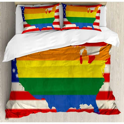 Ambesonne Pride Decorations USA American Flag with Rainbo...