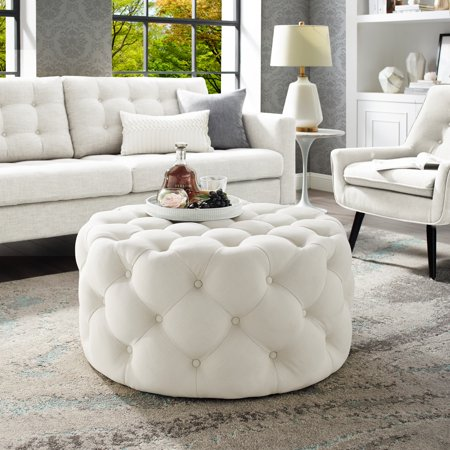 Miraculous Tracy Cream Linen Cocktail Ottoman Allover Tufted Round Short Links Chair Design For Home Short Linksinfo