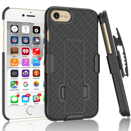 iPhone 7 Case, iPhone 8 Holster Clip, Tekcoo [Tstraw] Shock Absorbing Hard Shell [Built-in Kickstand] Swivel Locking Belt Armor Best Impact Defender Secure Slim Cases Cover