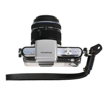 Canon Hand Strap - Foto&Tech Black Genuine Leather Adjustable Camera Hand Wrist Strap for Sony NEX Leica Canon Nikon Panasonic Fujifilm Olympus Pentax Samsung Mirrorless compact Cameras