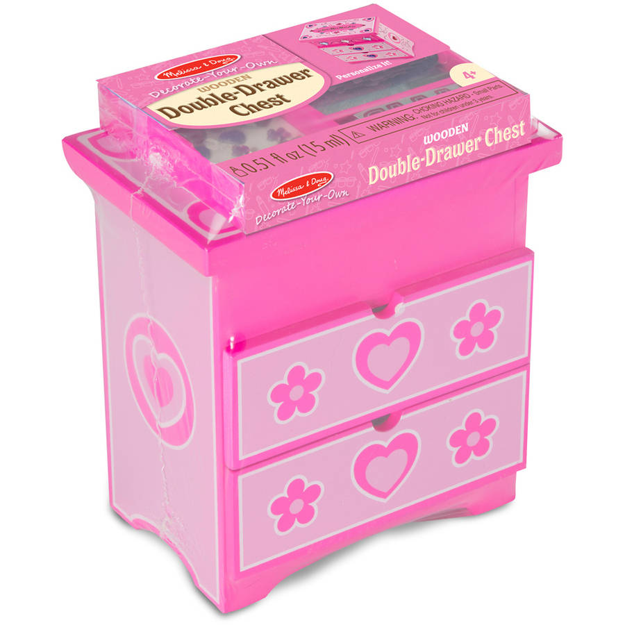 Melissa & Doug Decorate-Your-Own Double-Drawer Chest Craft Kit: 72 Foil Letter Stickers, 26 Gem Stickers, 2 Glitter Glues, and More