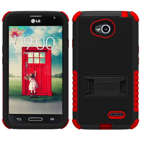 RED BLACK TRI-SHIELD CASE STAND SCREEN PROTECTOR FOR LG OPTIMUS L70 MS323 PHONE (Lg L70 Optimus Phone Case)