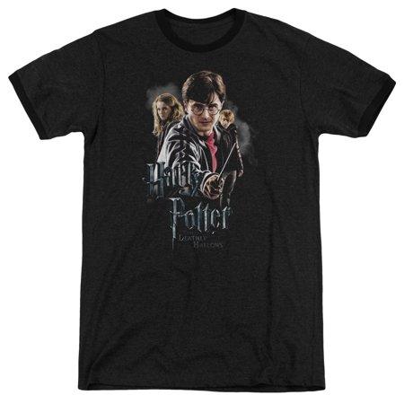 Harry Potter - Deathly Hollows Cast - Heather Ringer Short Sleeve Shirt - X-Large ()