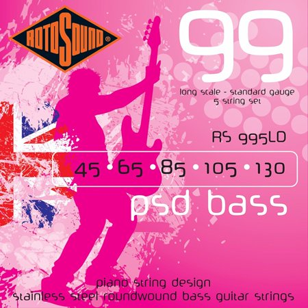 Rotosound RS995LDG Psd Stainless Steel 5 String Bass Guitar Strings 5 String Bass Cherry