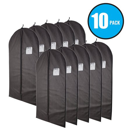 Plixio Black Garment Bags for Storage of Suits or Dresses—Clothing Storage Bag with Zipper & Transparent Window (10 Pack of 40 Inch