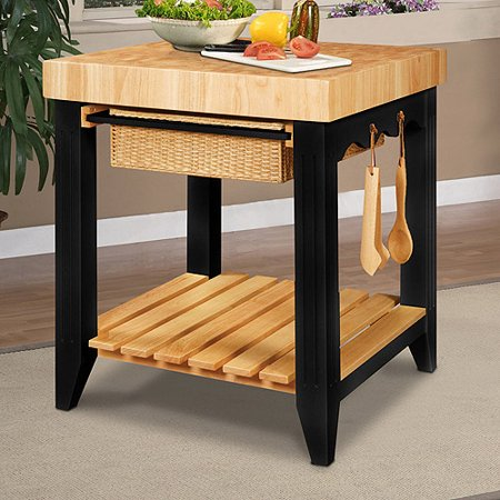 Powell Color Story Black Butcher Block Kitchen Island - Walmart.com