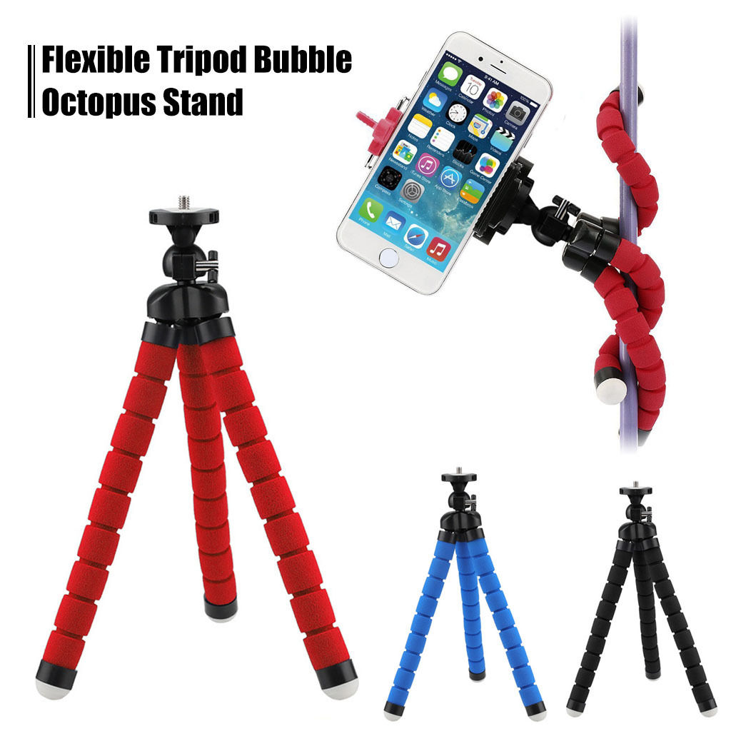 Spencer Flexible Big Tripod Octopus Stand Mount Holder with Phone Clip For iPhone Samsung Camera Cell Phones Blue