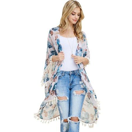 Riah Fashion Tassel Floral Print Sheer Cardigan