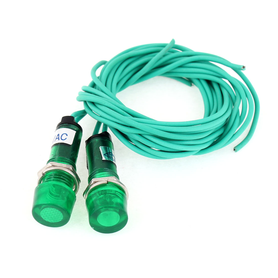 """Unique Bargains  380V Green Water Heater Indicator Light w 23.6"""" Long Cable 2Pcs"""
