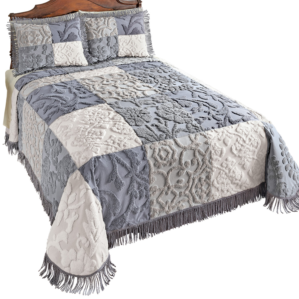 Grey Patch Chenille Bedspread with Fringe Trim, Queen, Grey Multi