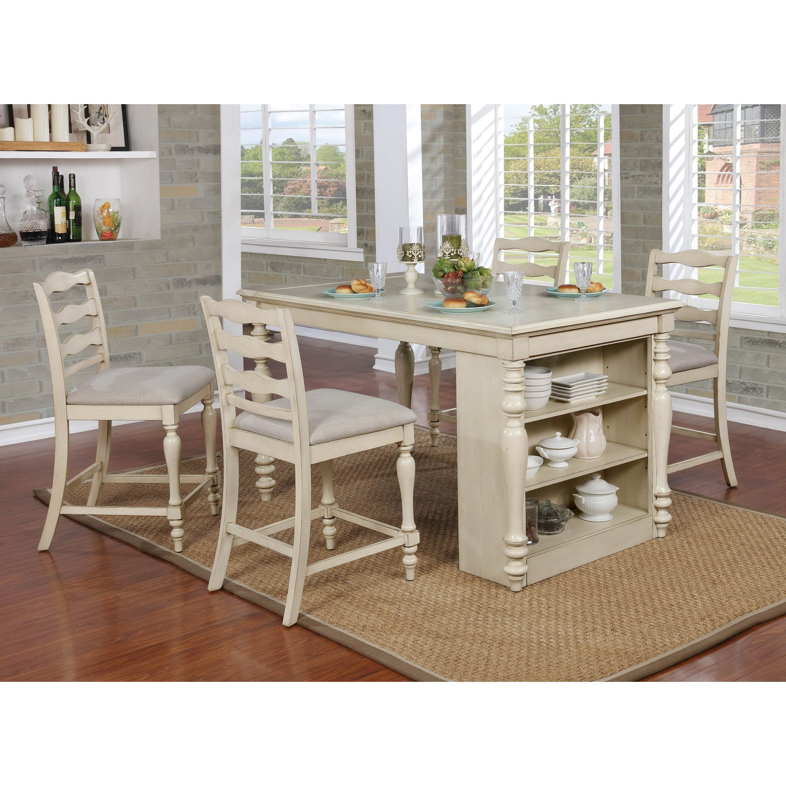 counter height chairs for kitchen island furniture of america wilson 5 piece rustic counter height kitchen island table and chairs set 3501