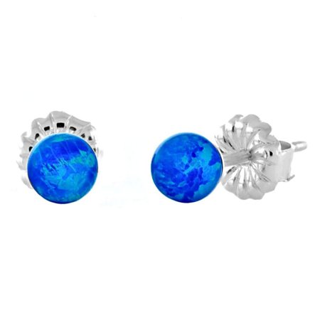 Oceans: 4mm Synthetic Pacific Blue Opal Ball Stud Post Earrings 925 Sterling Silver