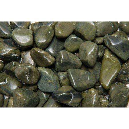 Fantasia Crystal Vault: 1/2 lb High Grade Green Jasper Tumbled Stones - XLarge - 1.5