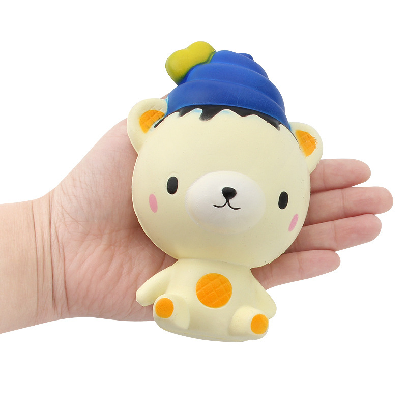 13cm Cute PU Bear Toy, Slow Rising Squishy Ice Cream Bear Squeeze Toys Gifts for Kids Style:Bear