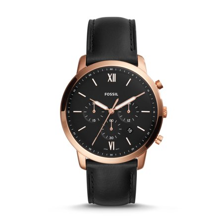 Fossil Set Wrist Watch - Fossil Neutra Chronograph Mens Wrist Watch w/ Black Leather Band & Rose Gold