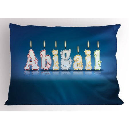 Abigail Pillow Sham Alphabet Letters for Sweet Birthday Cake Topping on Blue Backdrop Image, Decorative Standard Size Printed Pillowcase, 26 X 20 Inches, Blue and Multicolor, by Ambesonne
