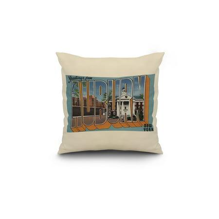 Greetings From Auburn New York 18x18 Spun Polyester Pillow White Borde