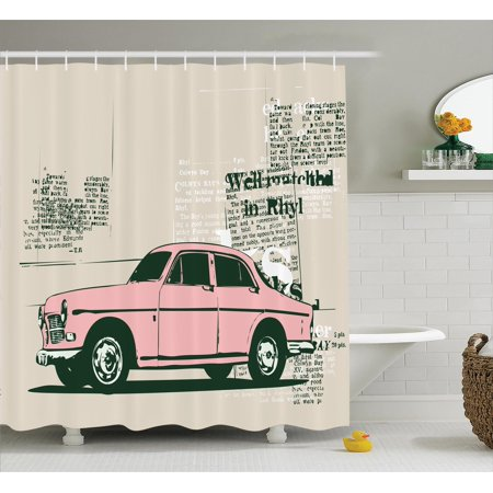 Old Car Decorations Shower Curtain Set, Illustration Of Old Model Car And  Newspaper Cuts Antique Style Classic Urban Life, Bathroom Accessories, 69W  X