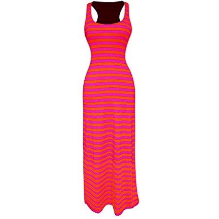 Peach Couture Racerback Summer Maxi Dress Striped Solid Sundress Fuchsia Orange S