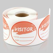 Round Visitor Stickers (2 inch, 300 Labels per Roll, 5 Rolls, Orange) for School, Office, College, Tours or Security