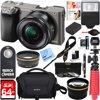 Sony Alpha a6000 24.3MP Wi-Fi Mirrorless Digital Camera + 16-50mm Lens Kit (Grey) + 64GB Accessory Bundle + DSLR Photo Bag + Extra Battery+Wide Angle Lens+2x Telephoto Lens +Flash +Remote +Tripod