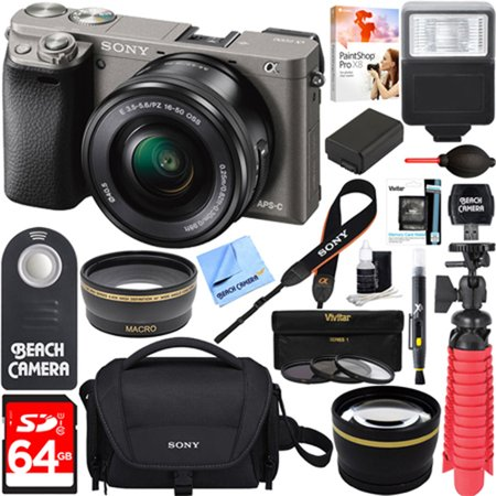 Sony Alpha a6000 24.3MP Wi-Fi Mirrorless Digital Camera + 16-50mm Lens Kit (Grey) + 64GB Accessory Bundle + DSLR Photo Bag + Extra Battery+Wide Angle Lens+2x Telephoto Lens +Flash +Remote