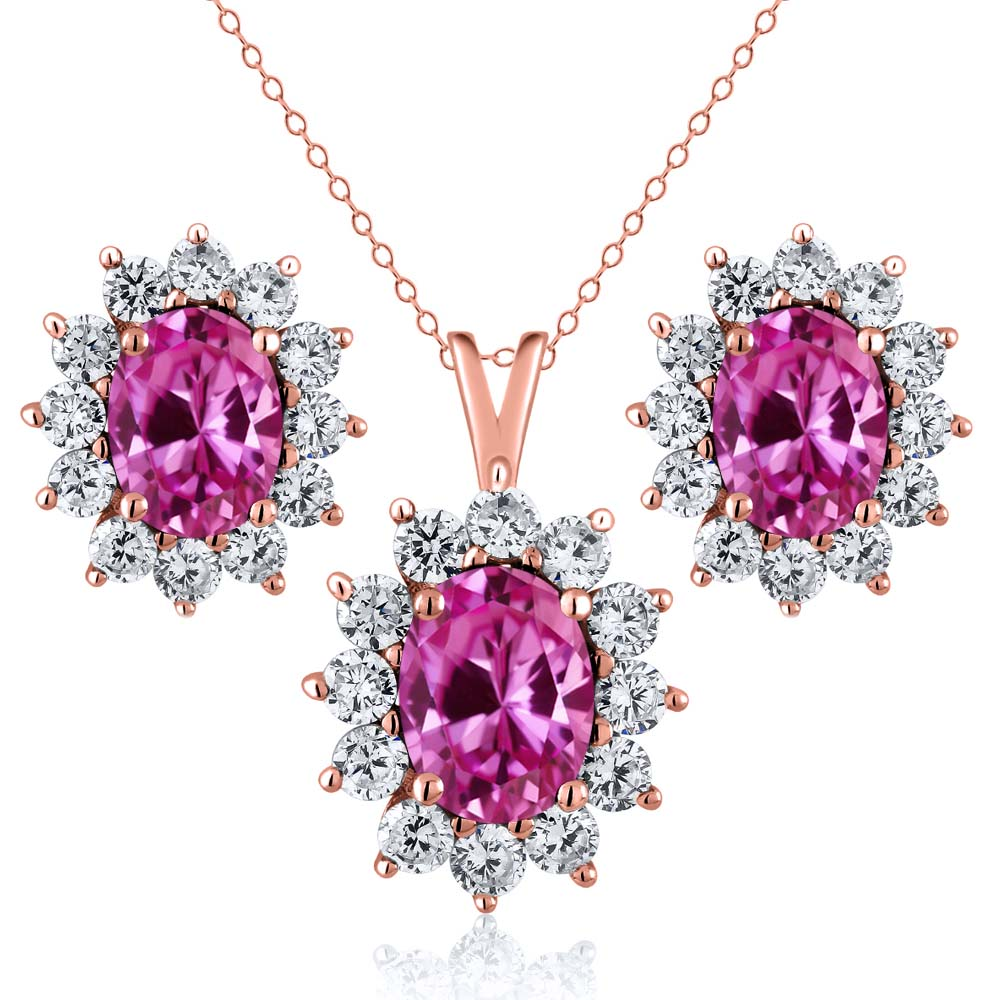 3.25 Ct Pink Created Sapphire 18K Rose Gold Plated Silver Pendant Earrings Set by