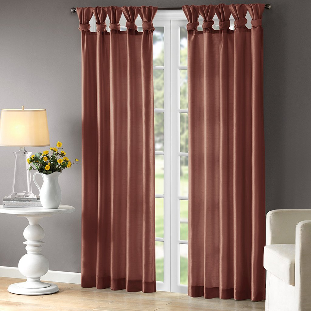 Emilia Window Curtain Spice 84 Panel, Solid faux silk panels featured with Twist Tabs. This easy to hang panel add a decorator's touch to your window treatment..., By Madison Park