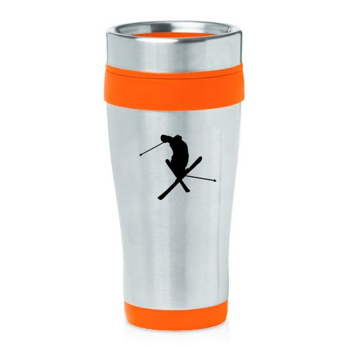 16oz Insulated Stainless Steel Travel Mug Ski Skier Extreme Sports Trick (Orange ) by