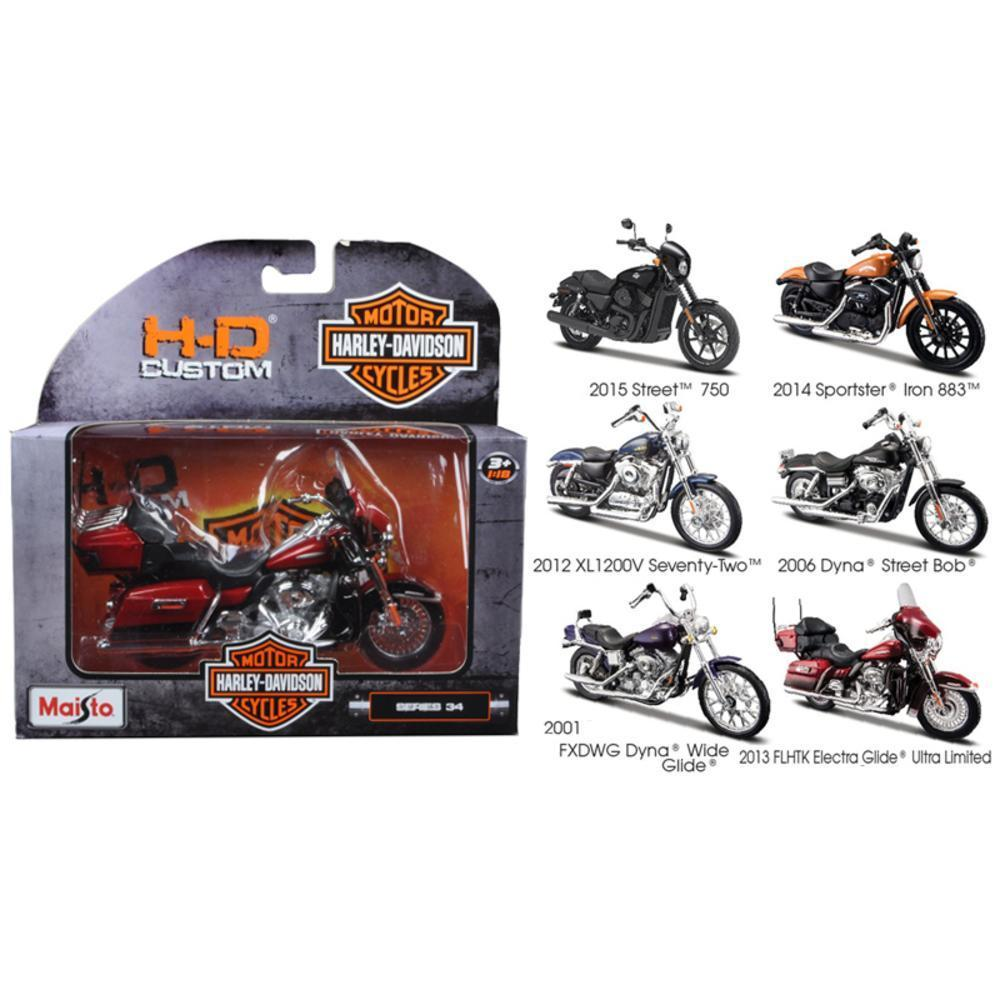harley davidson motorcycle 6pc set series 34 1/18 diecast models by