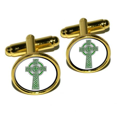 Celtic Christian Cross - Irish Ireland Scotland Scottish - Green White Round Cufflinks